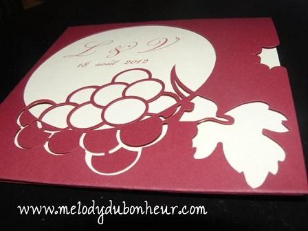 """Prototype faire part thème """"vin, raisin"""""""