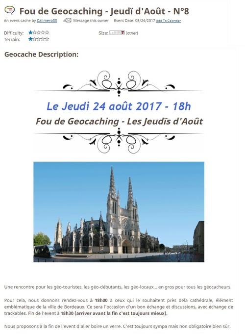 24 aout 2017 - Fou de Geocaching - Jeudï d'Août - N°8