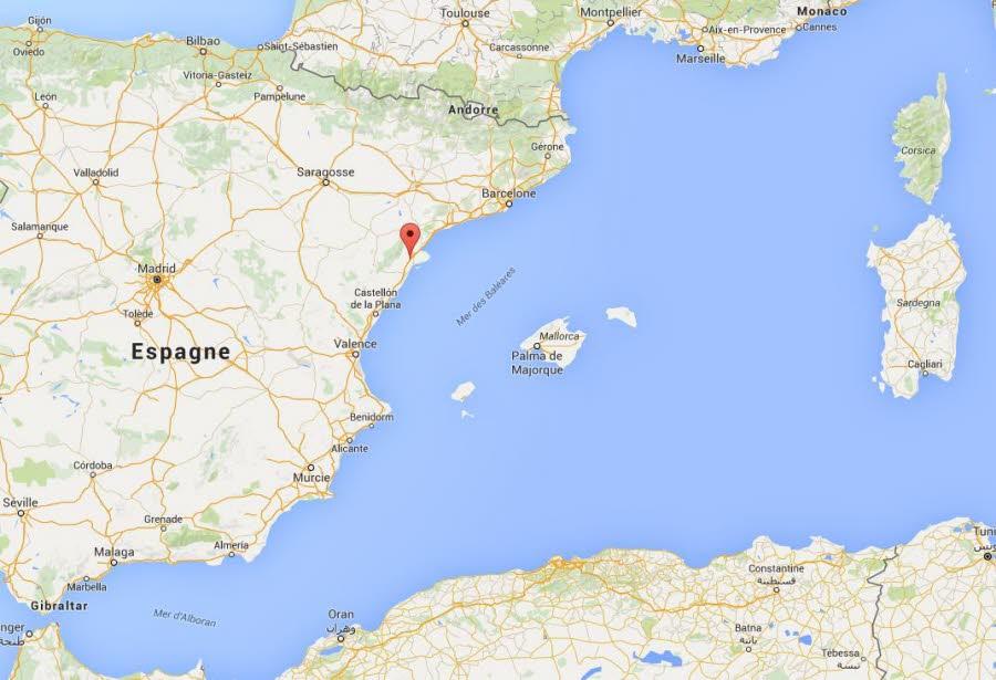 L'accident s'est situé à hauteur de Freginals, en Catalogne. Capture d'écran Google Maps