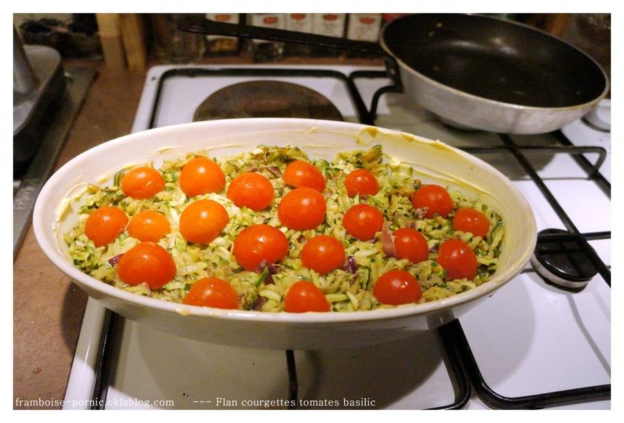 Flan de courgettes, tomates et basilic