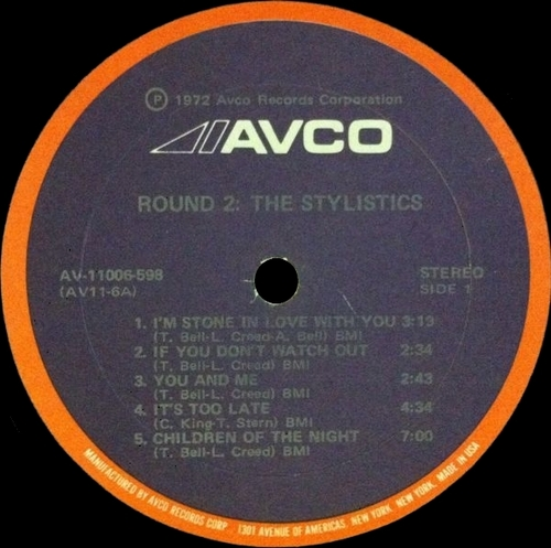 "The Stylistics : Album "" Round 2  "" Avco Records ‎AV-11006-598 [ US ]"