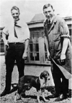 Charles Best et  Frédéric Banting avec un chien utilisé dans leurs expériences pour isoler l'insuline