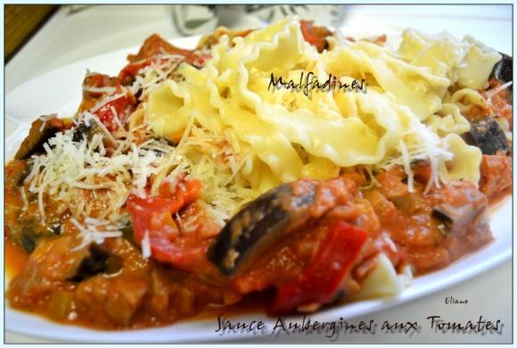 Malfadines aux Aubergines sauce Tomates