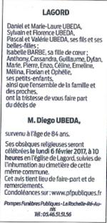 Décès Diego UBEDA