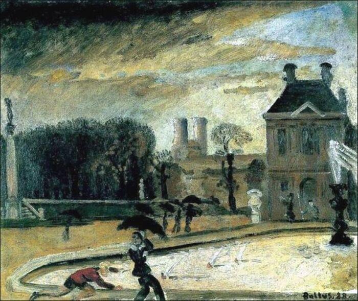 Balthus, Peintre français, né à Paris, d'origine polonaise. Le Jardin du Luxembourg (1928)