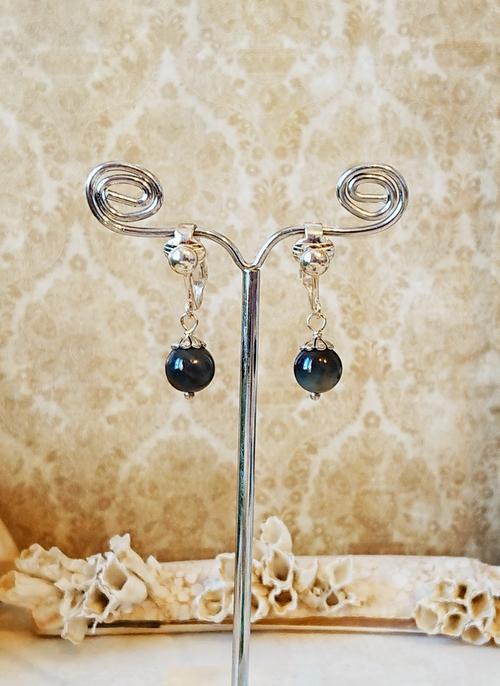 Boucles d'oreilles clips Pierre oeil de faucon 8 mm / plaqué argent  - Falcon eye clips on earrings silver plated