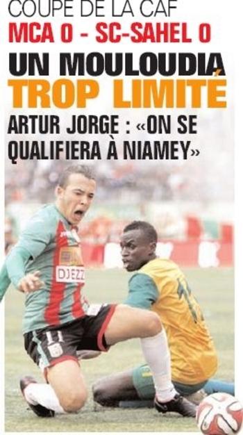 Samedi 14.02.2015 à Bologhine coupe de la CAF préliminaire MCA-Sahel SC  Niger 0-0