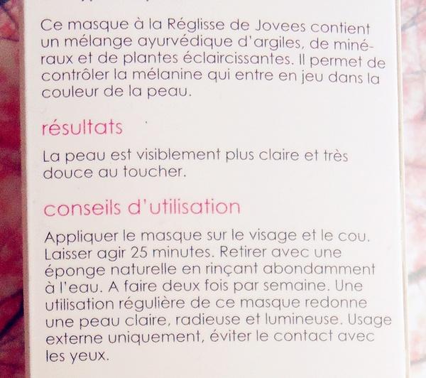 Jovees - Masque Blancheur au réglisse!