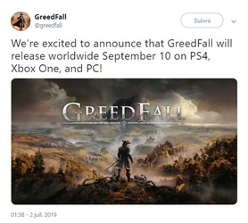 NEWS : Greedfall daté*