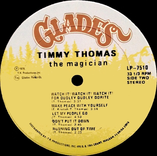 "Timmy Thomas : Album "" The Magician "" Glades ‎Records 7510 [ US ]"