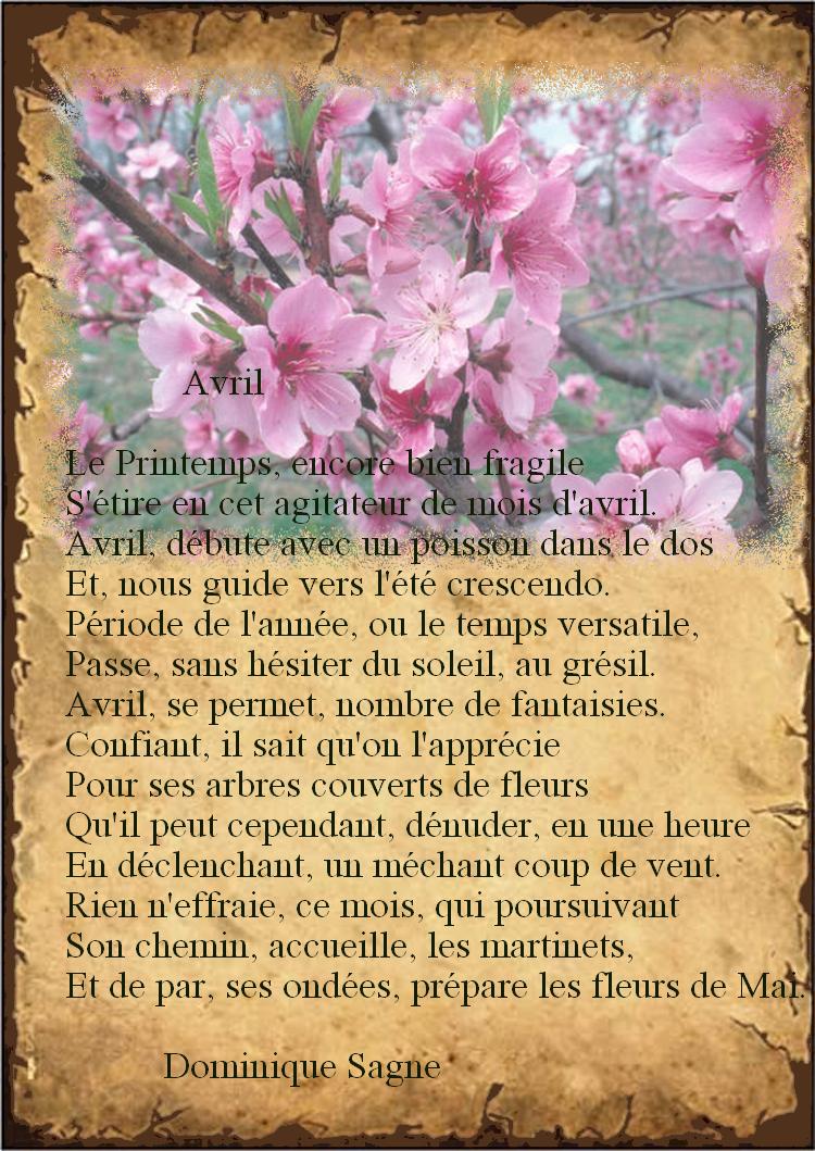 """""""Avril"""" poème de Dominique Sagne"""