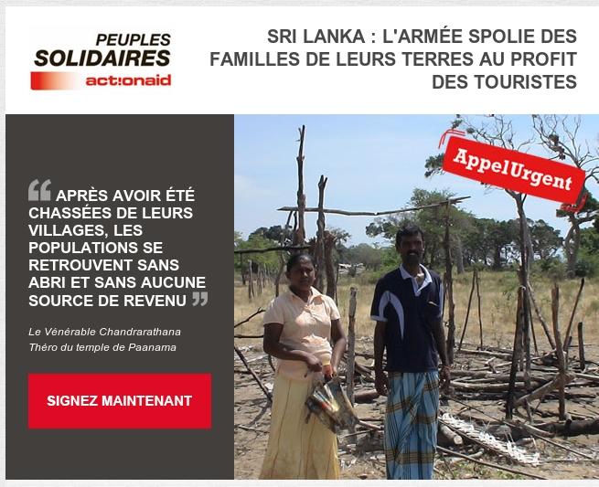 CONTRE L'ACCAPAREMENT DES TERRES AU SRILANKA PAR L'INDUSTRIE TOURISTIQUE.