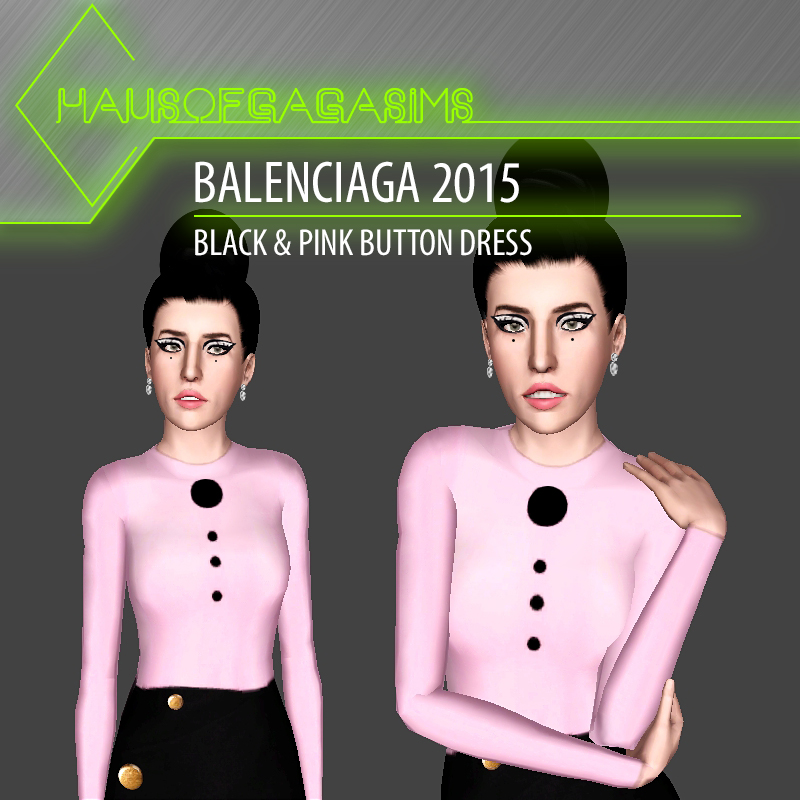 BALENCIAGA 2015 BLACK & PINK BUTTON DRESS