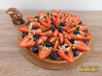 Tarte pâtissière aux fraises & pistaches