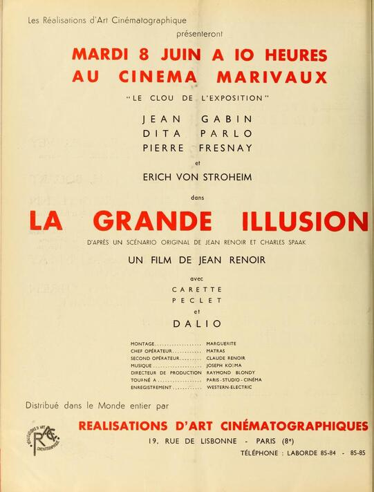 LA GRANDE ILLUSION - AFFICHES ET BOX OFFICE 1937