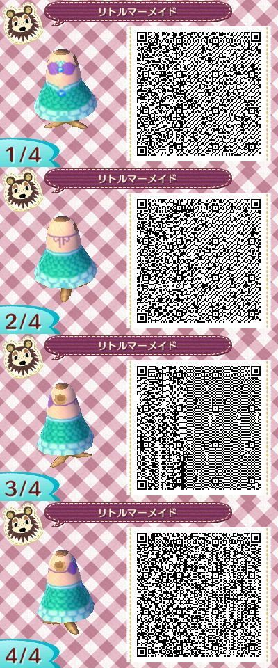 "Disney ""La petite sirène"" Princesse Ariel. Animal Crossing New Leaf QR code:"