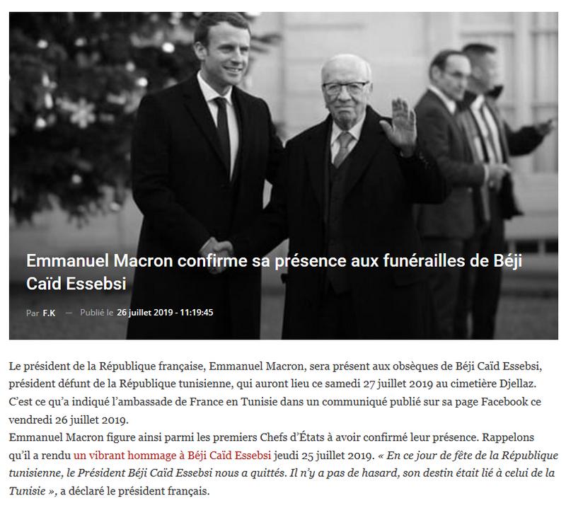 Emmanuel Macron confirme sa présence aux funérailles du président  Béji Caïd Essebsi