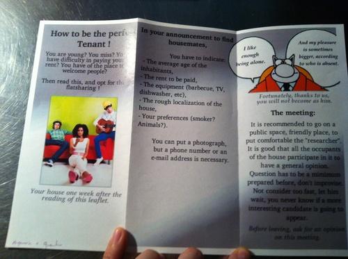 Flatsharing leaflets