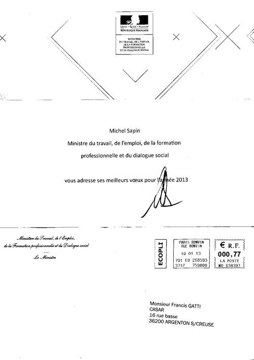 VOEUX de Michel SAPIN Ministre du travail