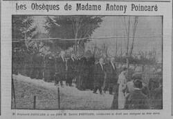11 avril 1913, décès de Mme Nanine Marie FICATIER, mère de Raymond POINCARÉ