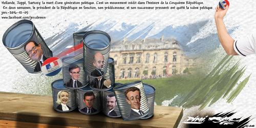 dessin de PIMI et JERC lundi 05 décembre 2016 caricature Hollande, Sarkozy, Juppé Course tragique à l'Elysée, bilan provisoire, 3 victimes. www.facebook.com/jercdessin