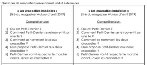 Lecture d'un texte court : «Les crocodiles imbéciles»