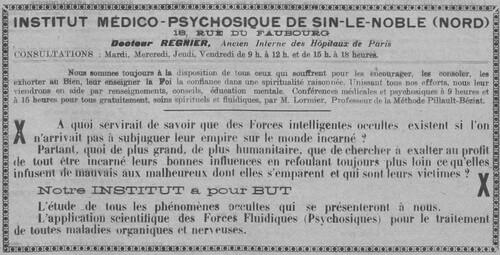 Institut Médico-Psychosique (Le Fraterniste, 1er septembre 1926)