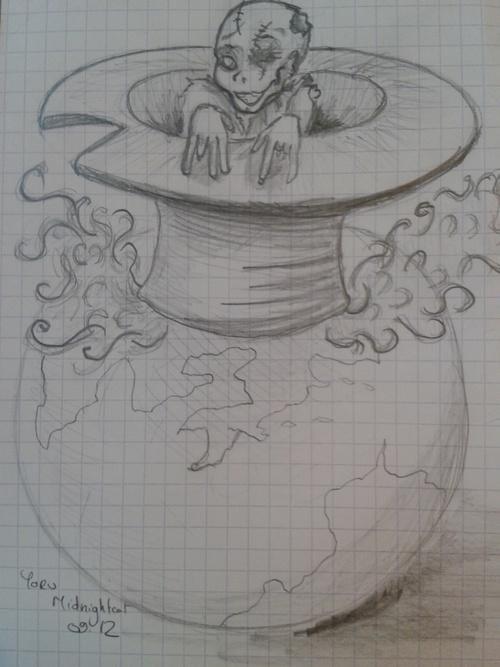 zombie dans un chapeau fumant posé sur un globe