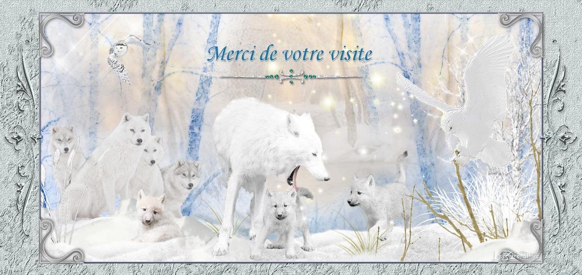 Entêtes et pieds de pages hiver blanc, meute de loups