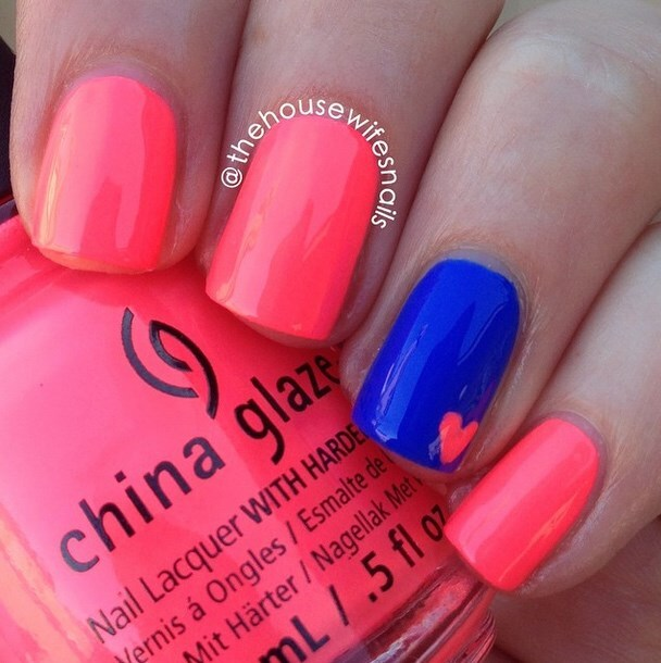 neon color and heart easy nail art bmodish