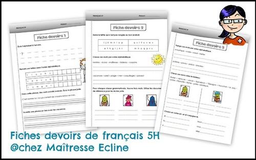Nouvelles fiches de devoirs - français 5H