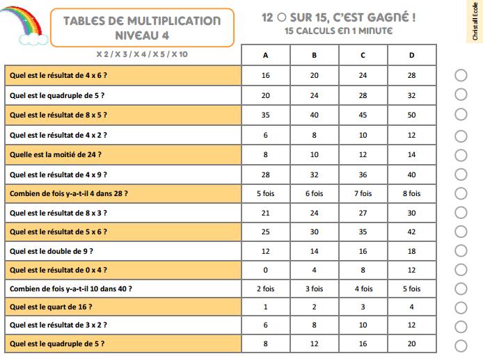 Qcm Les Tables De Multiplication Christall Ecole