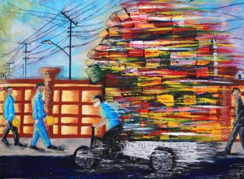 """279. """"Rickshaw"""" Acrylique sur toile de 0,80 x 0,60. Dec 2012"""