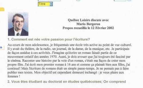 Reportage pour Québec Loisirs