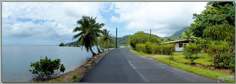 Promenade pédestre à Raiatea (côte ouest) : panorama sur le lagon et la montagne - Polynésie française