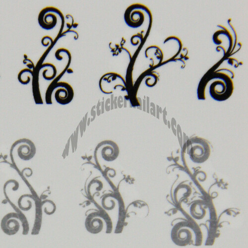 Water decal arabesque vigne noir blanc