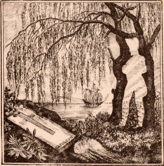 Image populaire de la tombe de Napoléon, avec la silhouette de l'Empereur se détachant des saules