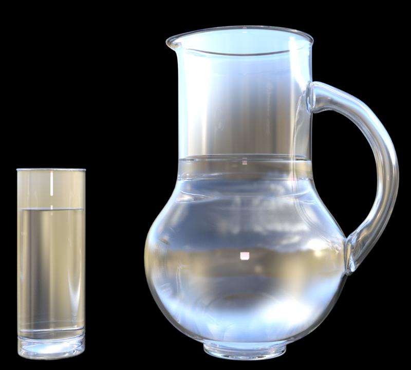Image pichet et verre d'eau (tube-render)