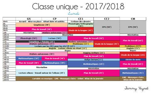 Mon organisation  2017/2018 (ateliers et plan de travail)