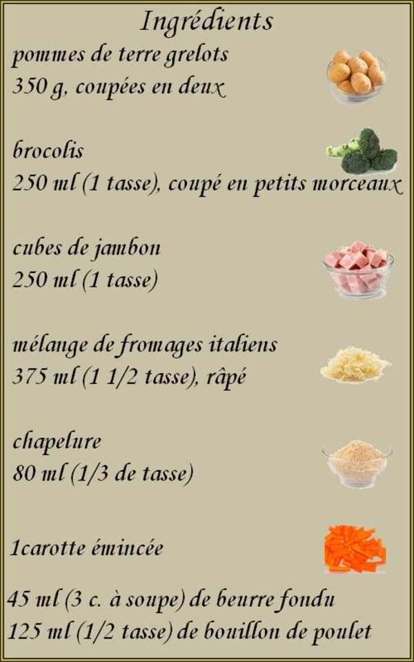 Recette de cuisine : Gratin au jambon