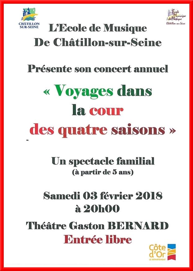 L'Ecole Municipale de Musique de Châtillon sur Seine présente demain soir un beau concert au Théâtre Gaston Bernard.