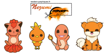 Render Pokemon - Renders A Little Kitty  Pokemon Feu Orange Poussifeu Caninos Goupix Salameche Kawaii Chibi
