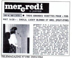 15 janvier 1964 / FORMAT 16/20 (RTBF)