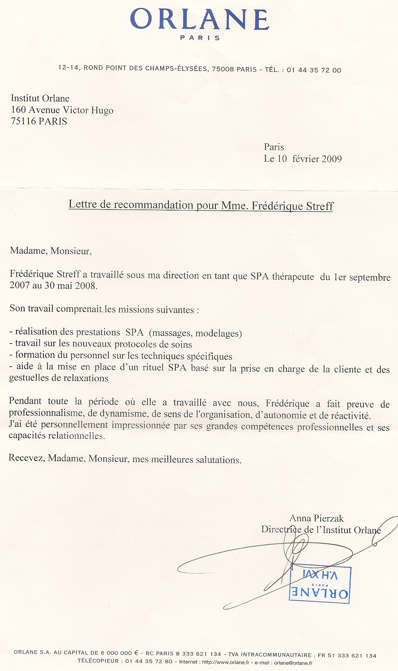 lettre de recommandation pour une formation