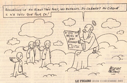 hommage du grand dessinateur Jacques Faizant à Jean Richard au lendemain de sa disparition ( archives Raymond Marti)