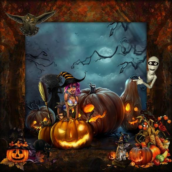 crea halloween  fond bleu