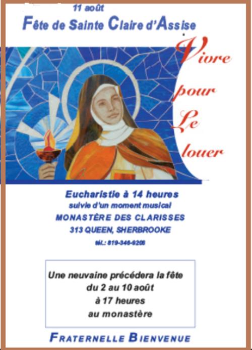INVITATION - FÊTE DE SAINTE CLAIRE D'ASSISE