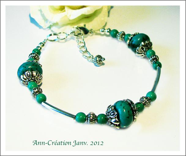 Bracelet Turquoise Naturelle Plaqué Argent / Métal Argenté