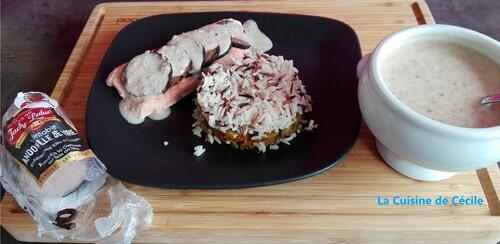 Papillote de saumon à l'andouille,  sauce à l'andouille de Vire