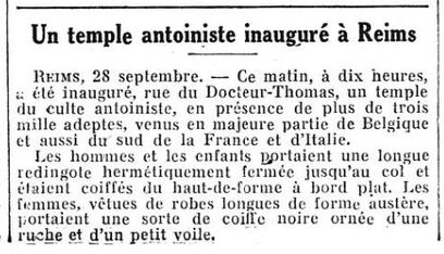 Inauguration du Temple de Reims (Figaro, 29 sept 1930)